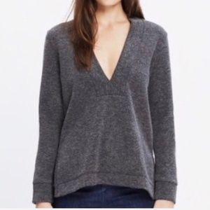 Madewell Gray Low V Pullover Top Sweatshirt M